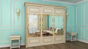 Шкаф купе с фрезеровкой и зеркальным панно Королёв