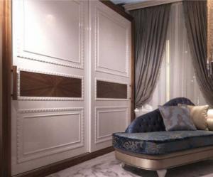 Шкаф купе с эмитацией филенки и фигурной накладкой, ламинация, шпон, эмаль Королёв